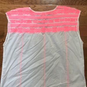 J. Crew Tops - NWOT J CREW pink white tunic sleeveless XL Cotton